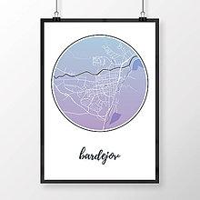 Grafika - BARDEJOV, okrúhly, modro-fialový - 8808308_