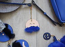 Kľúčenky - Kožený prívesok-VINCO-SMALL -béžovo-modrá - 8808165_