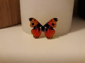 Galantéria - Gombík drevený motýľ 2,1 x (2,6 cm) - 8809870_