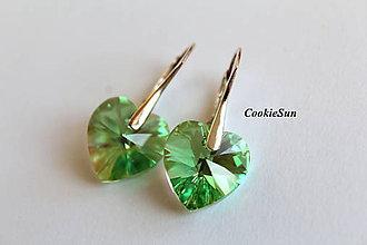 Náušnice - Náušnice Swarovski Heart Peridot AB - 8806149_