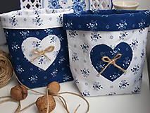 Úžitkový textil - ...košík z modrotlače... - 8805708_
