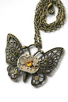 Náhrdelníky - Steampunkový náhrdelník Motýlik - 8808514_
