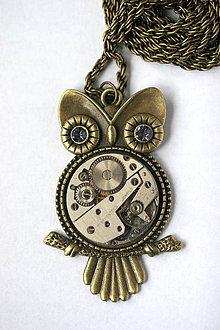 Náhrdelníky - Steampunkový náhrdelník Sovička - 8810683_
