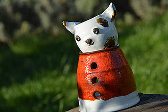 Svietidlá a sviečky - Mačka domáca (Felis catus) - aromalampa (Biela) - 8806055_