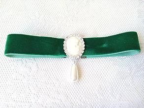 Náhrdelníky - Vintage kamej choker (zelený) - 8814277_