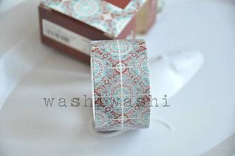 Papier - washi paska ornament hnedo modré - 8816164_