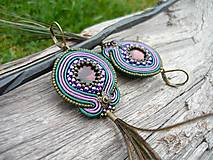 - Soutache náušnice Lady Peacock - 8816629_