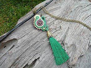 Náhrdelníky - Soutache náhrdelník/prívesok INDIA - 8816172_