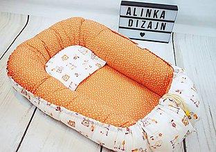Textil - Hniezdo oranžové s macíkom - 8811903_