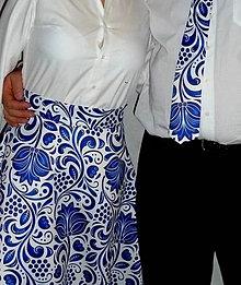 Sukne - Sukňa Modrý Folk satén - 8811853_
