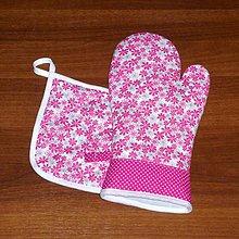 Úžitkový textil - chňapka rukavička a malá chňapka v súprave - 8813375_