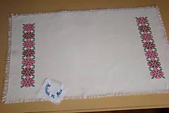 Úžitkový textil - Ručne vyšívaný ľanový obrus - 8812582_