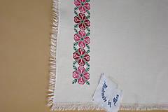 Úžitkový textil - Ručne vyšívaný ľanový obrus - 8812593_