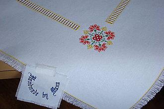 Úžitkový textil - Ručne vyšívaný biely obrus - 8812293_