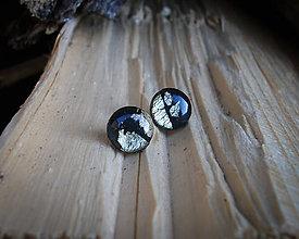 Náušnice - Krúžky 9 mm s kovovým efektom (zlato-čierne) - 8814874_