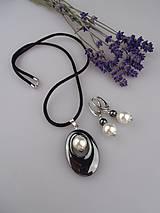 hematit perly z mušlí, striebro náušnice, prívesok