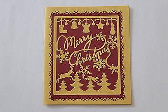 Papiernictvo - Merry Christmas (Bordová) - 8813525_