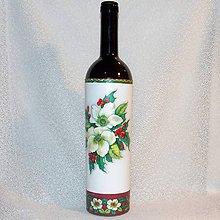 Nádoby - Vianočná fľaša Biele vianočné ruže - 8816351_