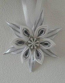 Dekorácie - Vianočné ozdoby biele hviezdy so strieborným nádychom - 8813551_