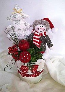 Dekorácie - Kvetináčik-snehuliačik - 8811474_