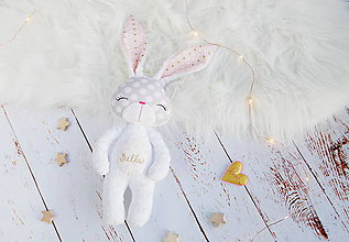 Hračky - Zajačik bielo-zlatý - 8813194_