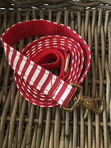 Pre zvieratká - Vodítko pre psíkov - červený a bielý vzor - 8815476_