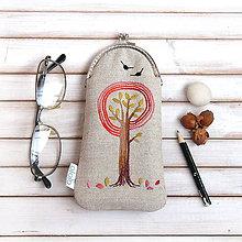 Taštičky - Púzdro na okuliare Strom v oranžovej - 8813734_