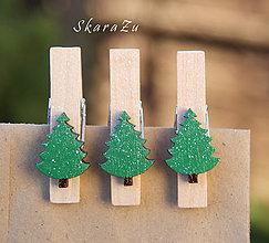 Dekorácie - Darčekové štipčeky stromčeky - 8812146_