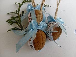 Dekorácie - Vianočné oriešky MODRÉ - 8812611_