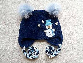 Detské čiapky - Plyšová so snehuliačikom a bambuľkami :) - 8817959_