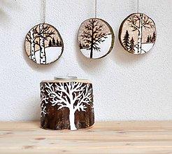 Svietidlá a sviečky - Drevený svietnik-Biele stromy - 8818128_