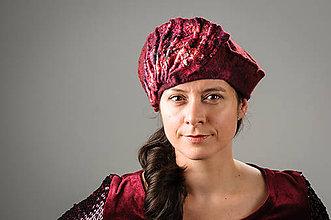 Čiapky - Ružová vintage baretka, vlnená z Merino vlny - 8817042_