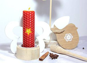 Svietidlá a sviečky - sviečka z vosku červená - 8819753_