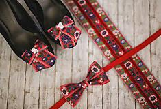 Doplnky - Vianočná akcia: Folk motýlik červený - 8822753_