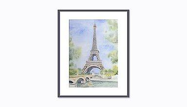 Obrazy - Eiffelova veža - akvarel - 8821684_