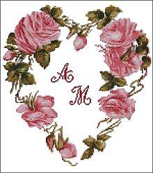 Návody a literatúra - F063 Kvetinové srdce - predloha na vyšívanie - 8816684_