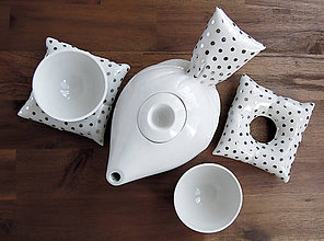 Nádoby - Peřinkový čaj pro dva - puntík - 8818580_