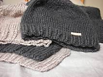 Čiapky -  Mohérový set: čiapka a šál, antracitový - 8820531_