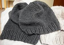 Čiapky -  Mohérový set: čiapka a šál, antracitový - 8820544_