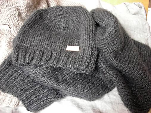 Mohérový set: čiapka a šál, antracitový