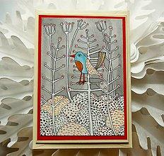 Papiernictvo - vtáčik v zime - 8818537_