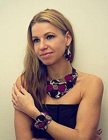 Sady šperkov - Leopardie oko, cyklamenová sada - 8818443_