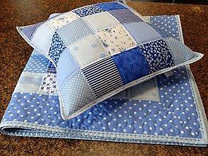 Úžitkový textil - Vankúš - kocky (Modrá) - 8819698_