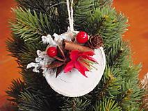 - Vianočná ozdoba na stromček s červeným kvietkom - 8817324_