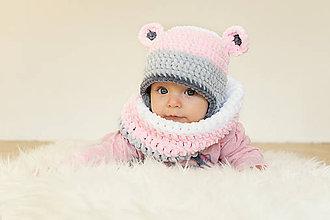 Detské čiapky - Zimná ušianka farebný MACKO + nákrčník - 8828521_