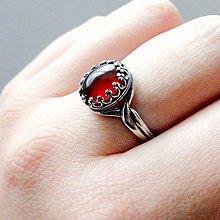 Prstene - Garnet Hessonite & Silver Ag 925 / Strieborný vintage prsteň s prírodným granátom - 8824439_