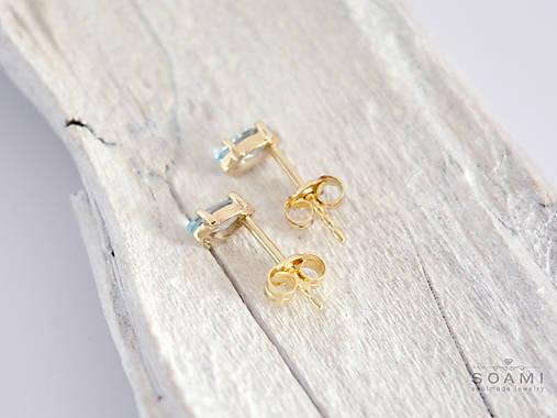 a3d32670f 585/14k zlaté náušnicé s prírodným modrým topásom / soamijewelry ...