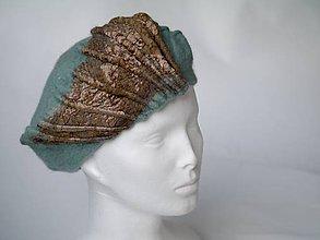 Čiapky - Vintage baretka z Merino vlny a hodvábu, bledomodrá - 8828507_