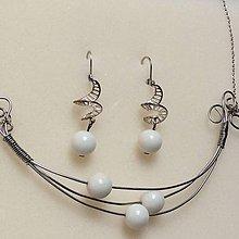 Sady šperkov - oceľová sada šperkov s bielym koralom - 8824335_
