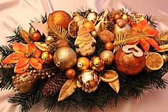Vianočná ikebana (svietnik) na stôl tradičná zlato-medená
